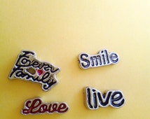 Smile/Love/Forever Family/Live Positive Vibes Jewelry Floating Origami Owl Memory Locket Loose Charm