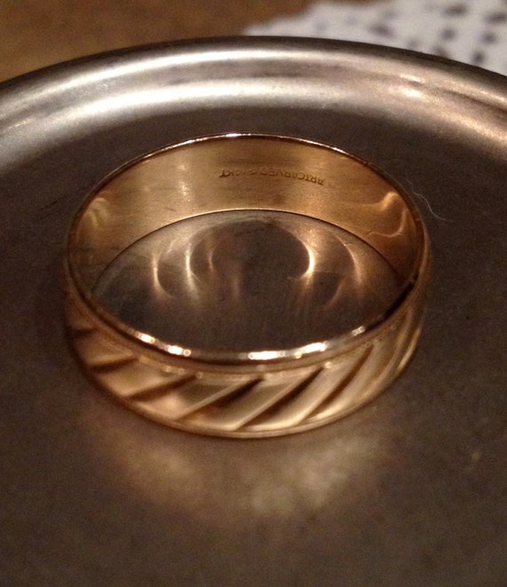 Vintage 14k Yellow Gold ArtCarved Wide Textured Wedding Band