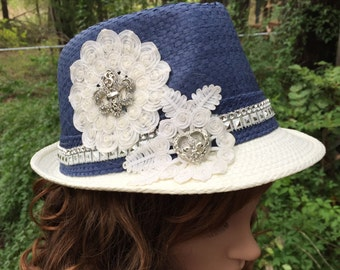 Fedora for women in Blue and Tan