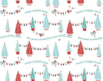 SALE Pixie Noel Trees White by Riley Blake Designs - Christmas Trees Lights - Quilting Cotton Fabric - choose your cut