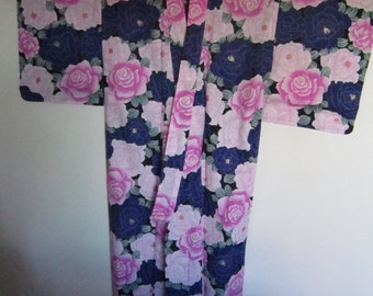 Cotton blue pink roses yukata
