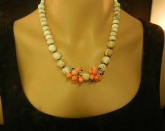 Gemstone Necklace - Salmon Coral - Black Onyx - Magnesite - Swarovski - Beaded Necklace