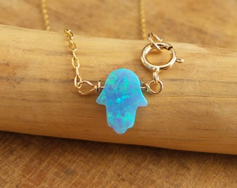 Opal Anklet / Hamsa Opal anklet / Gold Bracelet / Foot Jewelry/ Bridesmaid gift/ Charm Anklet/ Dainty Anklet / Gift For Her