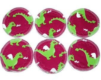 Reusable nursing pads, 3 pairs - cute dragon print - nursing pads - breastfeeding pads - reusable pads - pads for breastfeeding mum