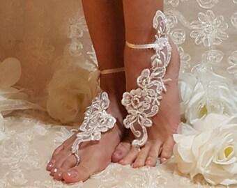 Barefoot Wedding Sandals,Beach Sandals,Wedding Poolside Sandals,Lace Barefoot Sandals,Destination Weddings,Wedding Night Sandals,Lace Anklet