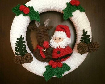 Santa and Rudolph Crochet Wreath