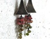 colorful tourmaline, tourmaline earrings, oxidized silver, pink tourmaline, oxidized silver earrings