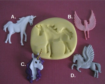 Unicorn Molds - Pegasus Mold - Silicone Mold - Food Safe Mold - Fondant Mold - Food Safe Silicone - Flexible Mold - Resin Mold - Mould