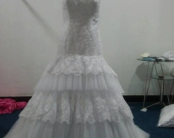 Custom Tiered Mermaid French Lace Wedding  Bridal Dress with Beading