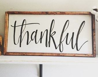 Thankful | Farmhouse Sign | Framed Wooden sign