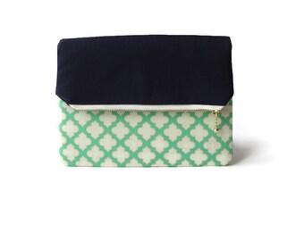 Foldover Clutch / Clutch Purse / Zippered Pouch / Zippered Clutch / Clutch Bag