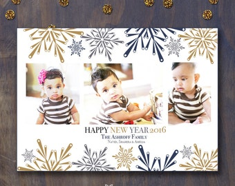 Starry Snowflake Themed Seasonal/New Year / Holiday Greeting Photo Card in Navy blue, gold and Gray.  Available for DIY or Custom Printing.