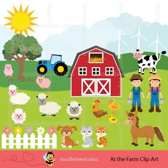 Farm Animals Clipart. Farm Clip Art Set Barnyard Animals Clip Art Pictures Of Farm Houses