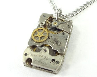 Steampunk Necklace Hand Crafted From Antique 1934 Watch Movement