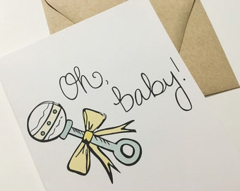 Oh Baby! Baby Shower Card - Congratulations Pregnancy Card - Maternity Card - Mom-To-Be Congrats Card -  Card for Expecting Mom