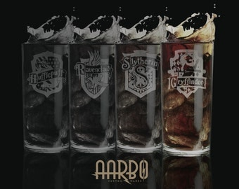 Harry Potter Houses Etched Highball Glasses Set of 4