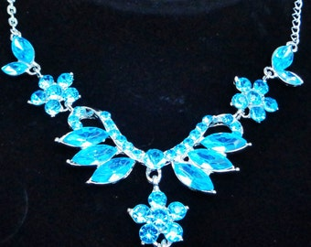 Blue Flower Petal Necklace