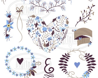 Floral Wreath Clipart - Forget Me Not Wreath Heart Banners Clipart - Instant Download - Forget-Me-Not Floral Wedding Wreath Items