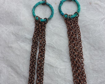 Blue and green patina copper chain earrings