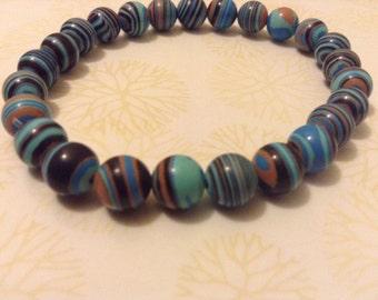Blue Stripe Turkey Turquoise Bracelet