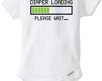 Diaper Loading Baby Onesie Design, SVG, DXF, Vector and PNG files for use with Cricut or Silhouette Vinyl Cutting Machine, or Heat Transfer