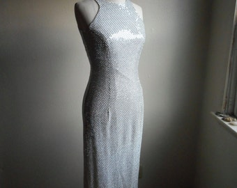 vintage 90s All that jazz liquid body con sequined form fit slinky sparkly shimmery metallic silver maxi dress