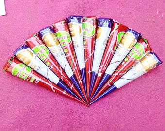12 instant henna cones - Red-brown henna cones - No PPD or chemicals - Ready To Use Mixed Henna Tattoo - Pre Mixed Paste Hand Rolled Cones