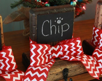 Red Chevron Canvas Stocking Holders
