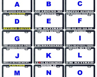 Retired funny assorted license plate frame