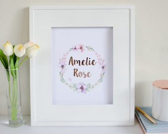 Baby Custom Name Print or Birth Announcement - Rose Gold Foil and Watercolour