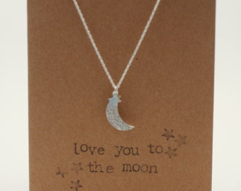 Love You To The Moon & Back Silver Necklace