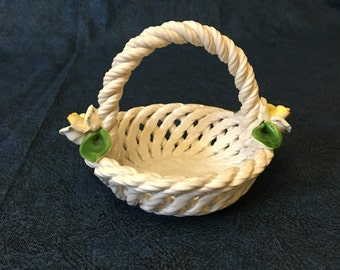 Vintage Capodimonte Small Open Weave Basket with Woven Rope Handle and Yellow Roses