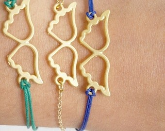24K gold plated angel feathers minimal bracelet with green or blue cotton cord or 24K gold plated chain - gift- everyday bracelet