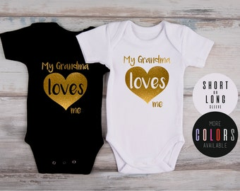 My GRANDMA LOVES ME One Piece, Best Grandma Ever, New Grandma Gift, Glitter Baby Outfit, Glitter Gold Bodysuit, More Colors Available