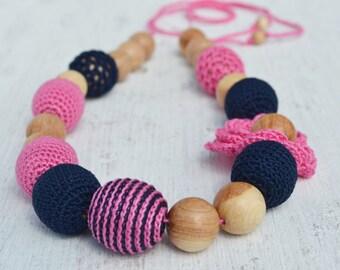 Pink Navy Nursing Necklace Crochet beads Juniper beads First toy Cotton Crochet Bead Teething necklace Teether Breastfeeding Necklace