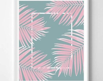 Palm print, Tropical Plant, Palm leaf, Pink, Blue, Minimal, Tropical art, Modern, Wall decor, Digital art, Printable,Instant Download 16x20