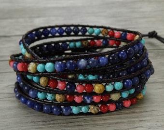 Boho wrap bracelet blue bead wrap bracelet rainbow bead bracelet gypsy wrap bracelet Yoga 5 wraps leather bracelet beadwork jewelry SL-0401