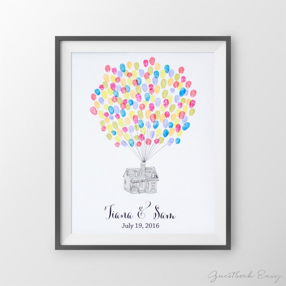 wedding guest book up house fingerprint guest by guestbookenvy