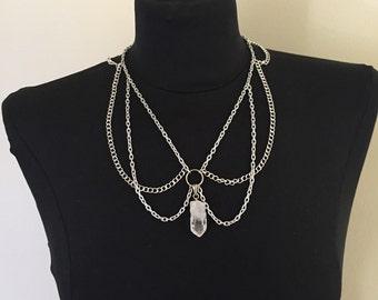 Quartz Crystal Chain Choker Necklace