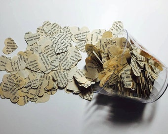 Vintage Heart Confetti, Aged Paper
