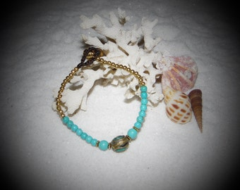 Turquoise and Brass Charm Bracelet