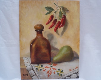 Original oil painting Still life with pepper original art home decor fine art original painting original artwork handmade art pepper pear