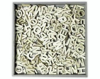 cArt-Us Wooden Embellishment Box - Upper Case Alphabet Letters - 250 pieces 1cm (set 99)