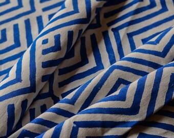 Blue Zig Zag Block Print UPHOLSTERY FABRIC
