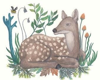 Deer lay on grass - wall decor