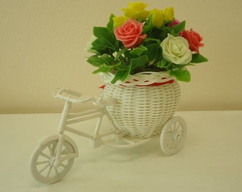 Artificial Roses in the wicker shape of tricycle Indoor Decorative
