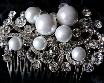 White Pearl and Rhinestone Hair Comb Wedding