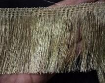 2 Yard Metallic Gold Fringe for Home Decor, Dull Gold Fringe Lace for Indian Wedding Dress, Fringe Eyelash Sewing Trim, Holiday Crafting