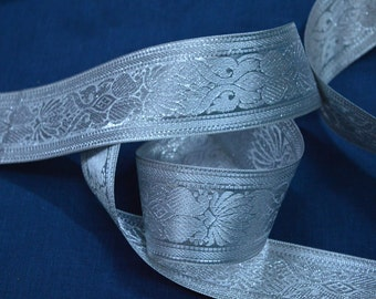 Brocado del telar jacquar del traje frontera del telar jacquar metálico Plata Trim Jacquard Jacquard ajuste la cinta por la yarda
