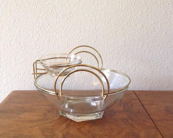 Mid Century Modern Chip and Dip Bowls, Serving Bowls